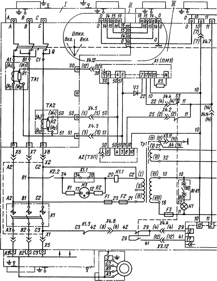 схема пускателей ПВИ-25БТ,