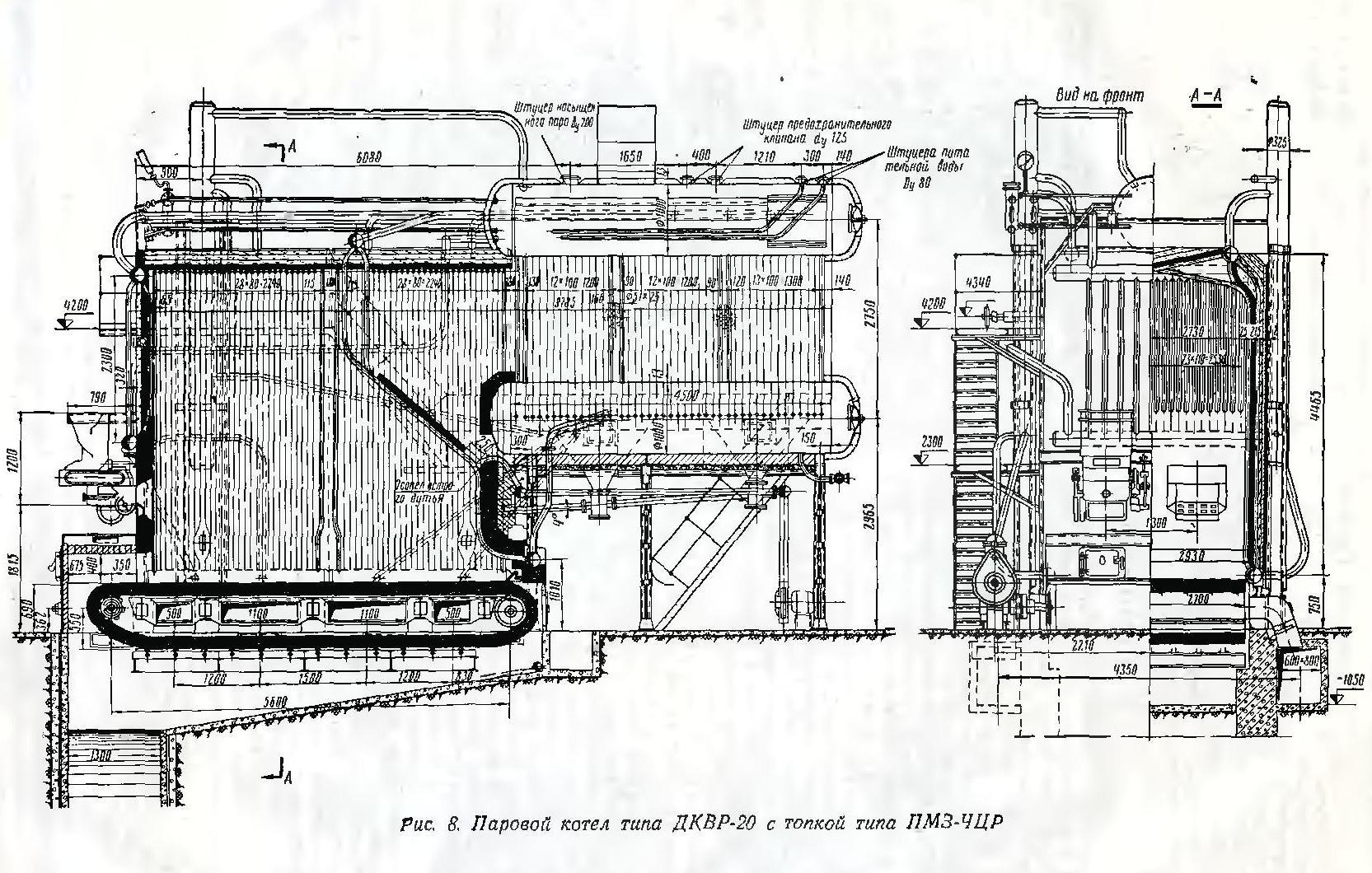 Схема топки котла дквр 10