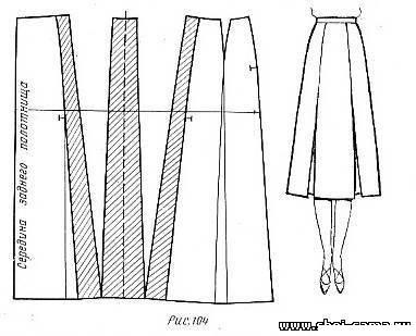 Расширение прямой юбки по линии низа может быть выполнено