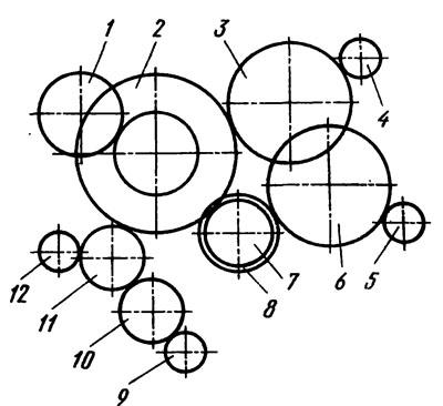 Схема зацепления шестерен