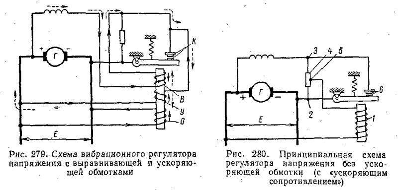 Принципиальная схема и работа вибрационного регулятора напряжения