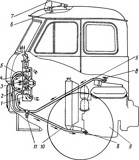 Система отопления кабины автомобилей МАЗ-500