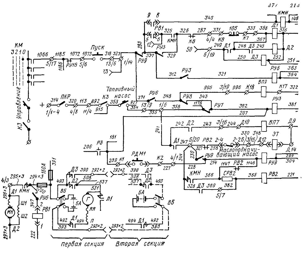 Электрическая схема пуска электродвигателя