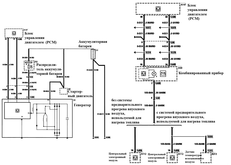 Схема подключения генератора на форд мондео