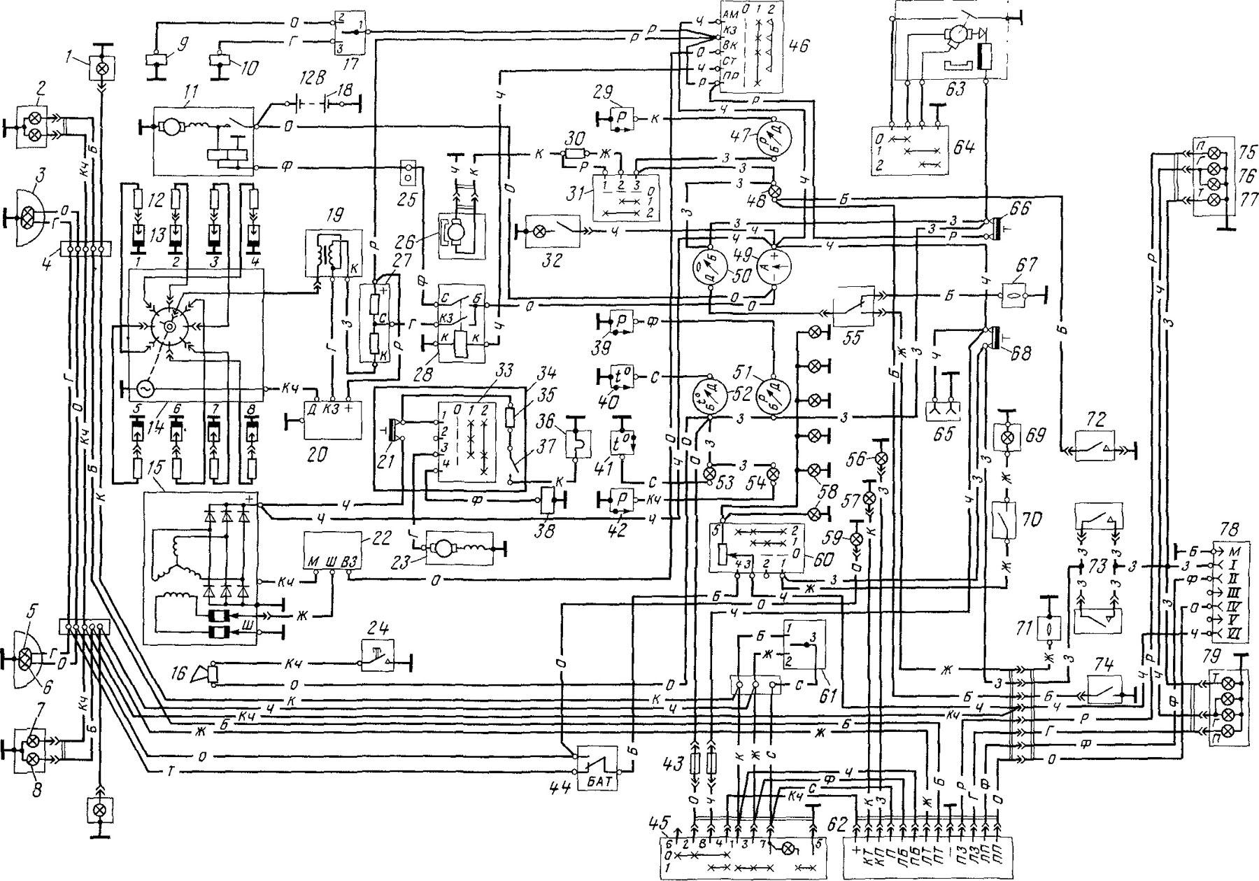 Схема электропроводки газ 52 цветная с описанием фото 895