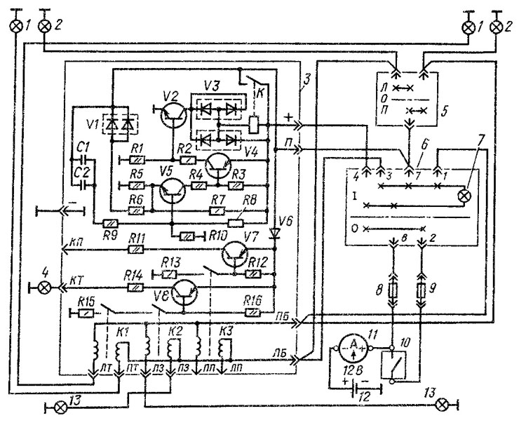 Электрическая схема указателей