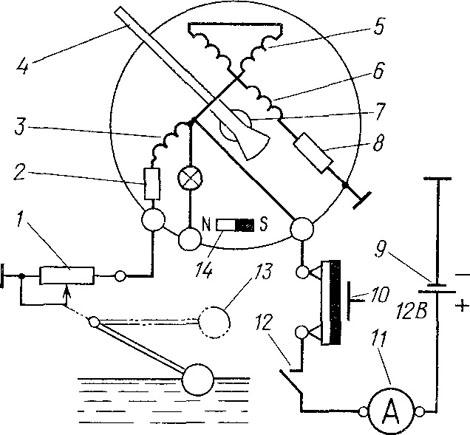 Схема прибора уровня топлива уаз