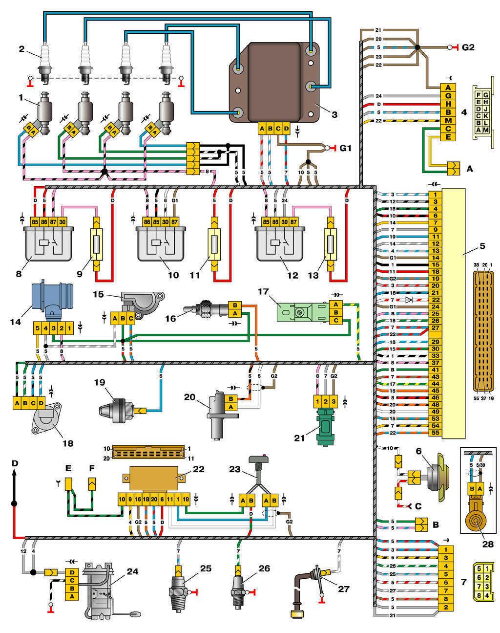 Схема блок управления двигателем ваз 2111 январь