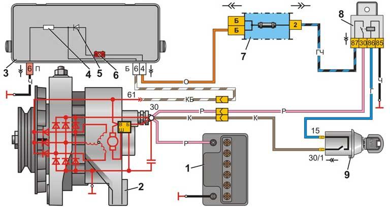 095 3083 - Схема подключения генератора нива 21213